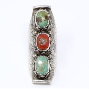 Jewelry - VINTAGE ETRUSCAN 925 Turquoise Statement Ring 8.5